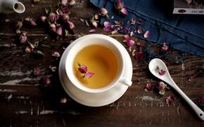 Картинка чай, розы, сухие, ложка, чашка, белая, розовые, блюдце