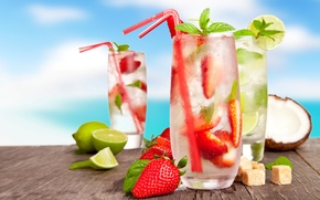 Обои клубничный, лед, мохито, напитки, коктейли, ягоды, cocktails, бокалы, клубника, сахар, цитрусы, трубочки, кокос, лимоны, лето, ...