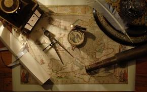 Обои перо, компас, подзорная труба, карта