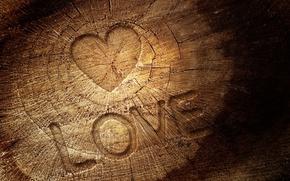 Картинка любовь, трещины, буквы, дерево, надпись, сердце, текстура