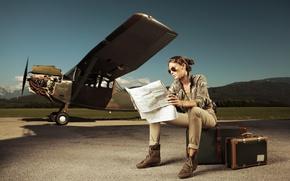 Картинка карта, Девушка, самолёт, чемоданы