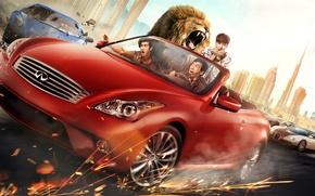 Картинка дорога, машины, красный, город, скорость, ситуация, лев, искры, за рулём, автомобиль, постер, Джеки Чан, комедия, …