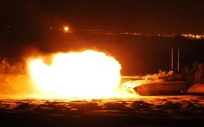 Обои выстрел, танк, огонь