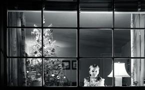 Обои черно-белая, елка, новый год, окно, ожидание