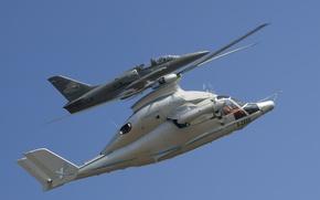 Картинка полет, вертолёт, самолёт, экспериментальный, учебно-боевой, L-39 Albatros, гибридный, Eurocopter X3