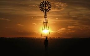 Картинка солнце, пейзаж, закат, птицы, человек, мельница