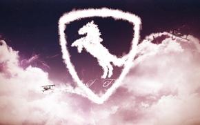 Картинка небо, облака, самолеты, logo, ferrari, феррари