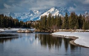 Обои зима. снег, горы, лес, озеро