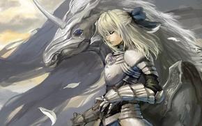 Картинка девушка, конь, крылья, арт, единорог, saber, fate stay night, shuyinnosi