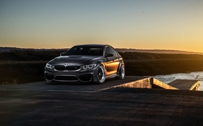 Обои bmw, m3, f80, mode, carbon, front, matte, black, sun, view