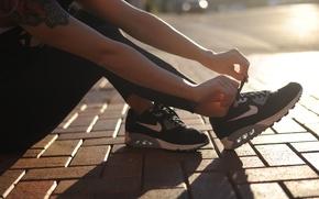 Картинка sunset, Nike, sneakers