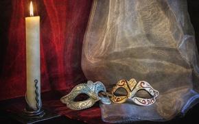 Картинка свеча, штора, маски