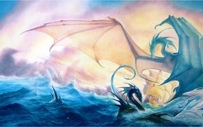 Картинка море, фентези, корабль, драконы
