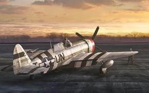 Картинка закат, самолет, аэродром, пилоты