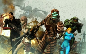 Картинка Halo, dead space, lightning, Mass Effect, Shepard, Mster Chief, final fantasy 13, isaac clarke, Samus …