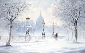 Картинка двое, бульвар, Jeff Rowland, картина, снег, снегопад, зима, деревья, город, улица, фонари, следы
