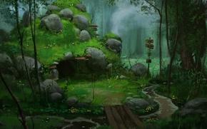 Обои лес, мост, камни, арт, указатель, пещера, речка, логово