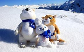 Картинка снег, гора, Сочи 2014, олимпийские талисманы