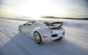 Картинка зима, скорость, Bugatti, Veyron, бугатти, winter, speed, вейрон, Grand Sport, 16.4