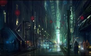 Картинка свет, люди, улица, небоскребы, Ночь, фонари, лестница, мегаполис