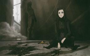 Картинка разрушения, киборг, Ergo Proxy, место преступления, в темноте, Iggy, Re-l Mayer
