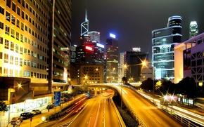 Картинка ночь, город, лампы, движение