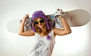 Картинка девушка, спорт, экипировка, skateboard