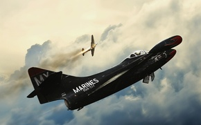 Картинка небо, облака, самолеты, Marines vma 334