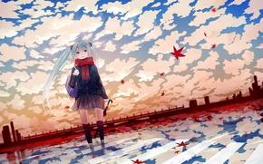 Обои девочка, anime, зонтик, вокалоид, vokaloid, листочки, аниме, мику, осень