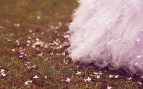 Картинка трава, цветы, платье, Grass, Dress