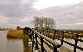 Картинка мост, мостик, деревья, мельница, канал, небо, осень, облака
