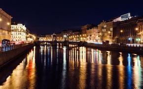 Картинка огни, река, Ночь, Питер, Санкт-Петербург, Россия, Russia, спб, St. Petersburg, spb