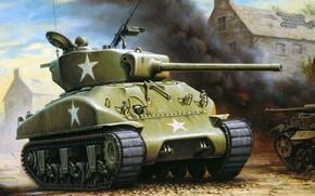 Картинка война, дым, рисунок, арт, танк, разруха, Шерман