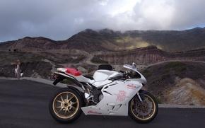 Картинка белый, небо, облака, горы, мотоцикл, white, bike, MV Agusta, мв агуста, supersport