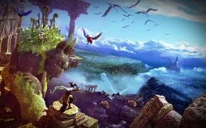 Картинка птицы, замок, Action, руины, облока, Adventure, воин и могущественное существо, Majin and the Forsaken Kingdom