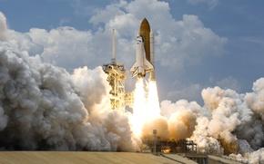 Обои США, Space shuttle, шаттл, НАСА, взлет, космос, NASA