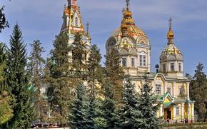 Обои парк, церковь, Казахстан