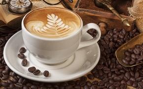 Обои пена, узор, часы, кофе, чашка, книга, ящик, блюдце, зёрна, лопаточка, каппучино, молотый кофе