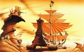 Обои корабль, пустыня, rodney matthews