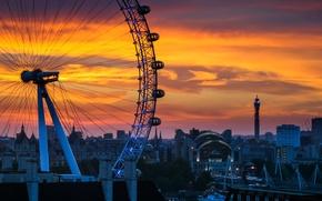 Картинка закат, город, дома, колесо обозрения, London, England, South Bank