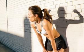 Обои woman, spirit, pose, shadow, sportswear, physical activity, tiredness