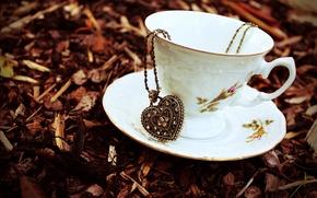 Картинка осень, листья, камни, сердце, сухие, чашка, кулон, цепочка, блюдце, подвеска