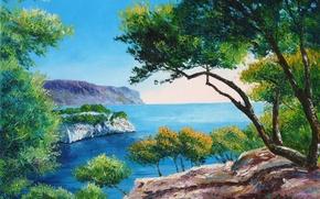 Картинка море, свет, деревья, пейзаж, горы, ветки, камни, картина, арт, Jean-Marc Janiaczyk