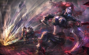 Картинка девушка, рыжая, art, lol, League of Legends, Katarina, Sinister Blade