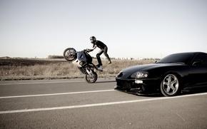 Обои Дорога, Мотоцикл, Toyota, Каскадер