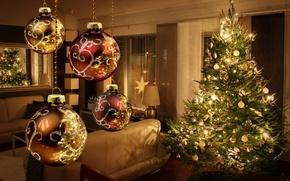 Картинка украшения, lights, огни, елка, интерьер, Новый год, new year, merry christmas, декор, interior, decoration, christmas …