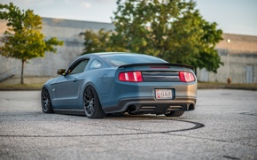 Картинка фары, зад, Mustang, Ford, Дорога, диски, blue, стопы