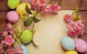 Картинка цветы, бумага, праздник, яйца, Пасха, Easter