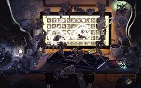 Картинка компьютер, комната, League of legends, katarina, ahri, sona, baraum, lisin
