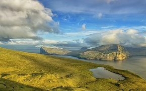 Картинка море, облака, побережье, остров, Дания, Faroe Islands, Klaksvik